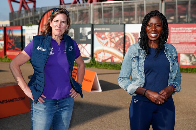 Dame Katherine Grainger and Christine Ohuruogu at the launch of From Home 2 the Games at Queen Elizabeth Olympic Park in London.