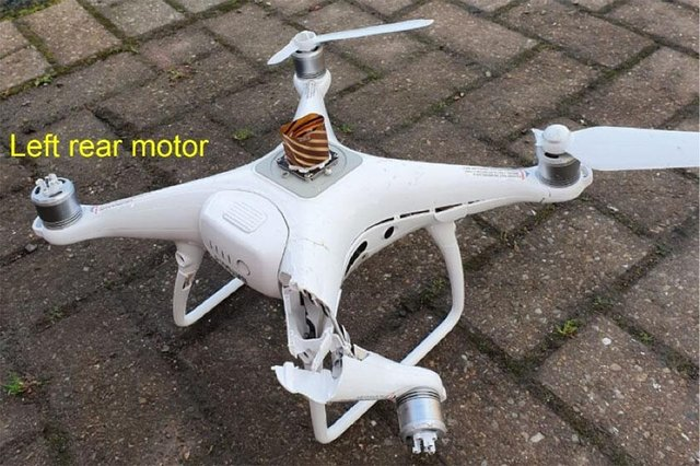 The DJI Phantom 4 RTK unmanned aircraft system rapidly descended and struck the ground near the house in Newtongrange. Pic: AAIB