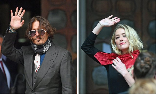 Johnny Depp and actress Amber Heard at the High Court in London for a hearing in his libel case against the publishers of The Sun and its executive editor, Dan Wootton.
