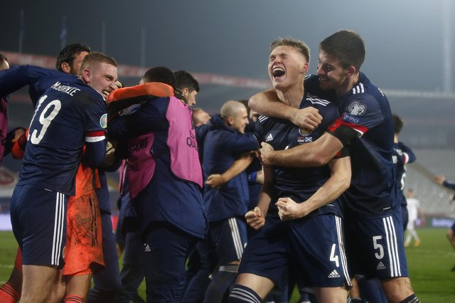 Scott McTominay of Scotland and Declan Gallagher of Scotland celebrate after the UEFA EURO 2020 Play-Off Final between Serbia and Scotland . (Photo by Srdjan Stevanovic/Getty Images)