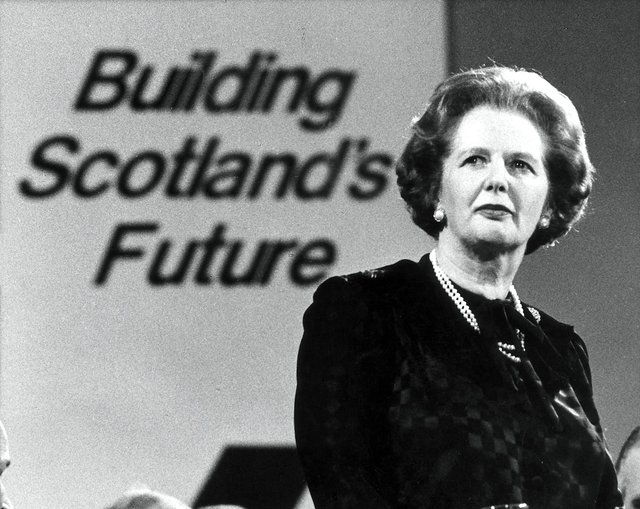 Margaret Thatcher at the Scottish Conservative Party Conference in Perth in May 1986