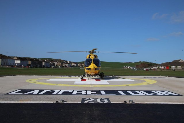 The first air ambulance to land at the new Campbeltown helipad. Picture: Kenny Craig