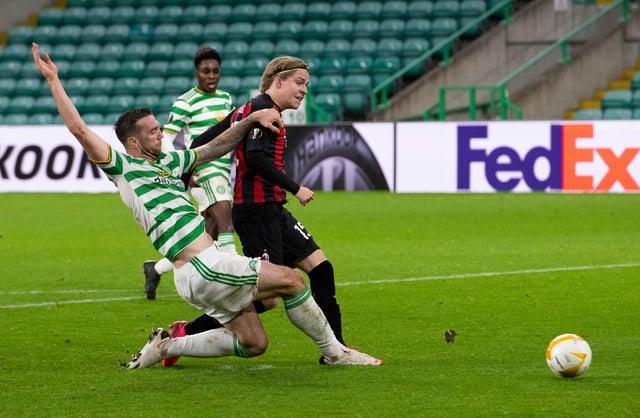 Jens Petter Hauge makes it 3-1 to AC Milan at Celtic Park. Picture: SNS