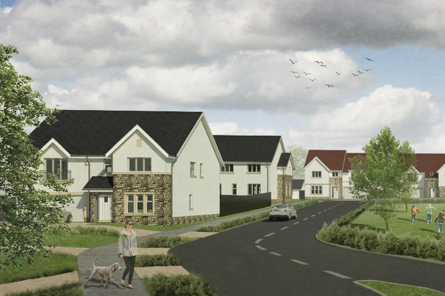 An impression of how part of the Gateside Farm development near the M80 motorway at Stepps will look.