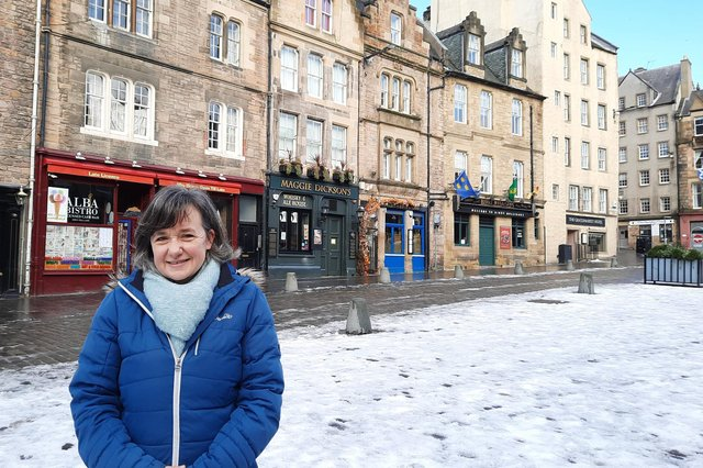 Flora Johnston, author of What You Call Free, at the Grassmarket which features in the novel