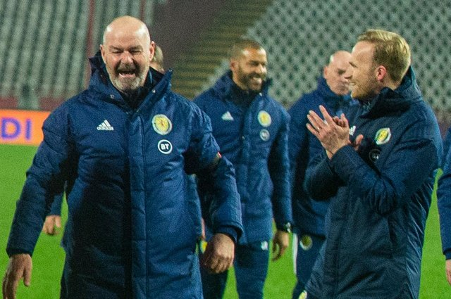 Scotland manager Steve Clarke celebrates at full time following the UEFA Euro 2020 qualifier between Serbia and Scotland at the Stadion Rajko Mitic on November 12, 2020, in Belgrade, Serbia. (Photo by Nikola Krstic / SNS Group)