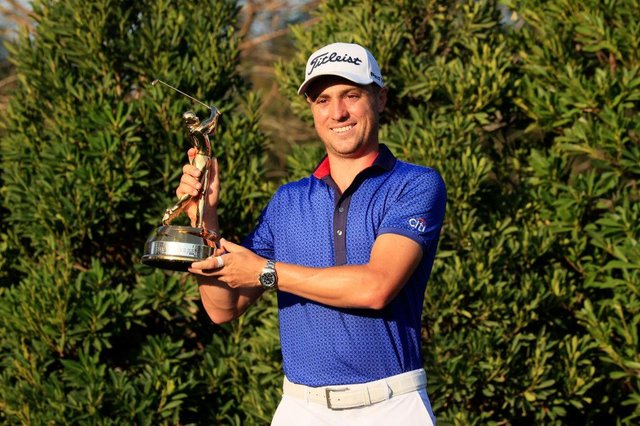 Justin Thomas celebrates with the trophy after winning the Players' Championship at TPC Sawgrass in Ponte Vedra Beach, Florida. Picture: Sam Greenwood/Getty Images.