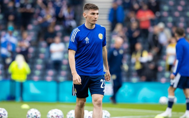 Billy Gilmour warms up before Scotlan's Euro 2020 match against Czech Republic