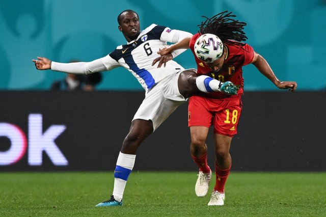 Rangers midfielder Glen Kamara, pictured in action against Belgium defender Jason Denayer, impressed for Finland in all three of their Euro 2012 finals matches. (Photo by KIRILL KUDRYAVTSEV/POOL/AFP via Getty Images)