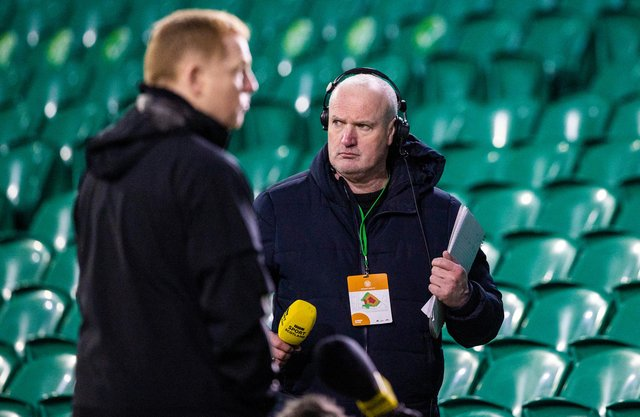 Celtic manager Neil Lennon prepares to speak to the BBC ahead of a game against St Mirren last month.