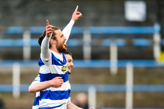 Morton striker Robbie Muirhead celebrates the opening goal at Cappielow which put his team firmly in control of the Championship play-off final against Airdrieonians.  (Photo by Ross MacDonald / SNS Group)
