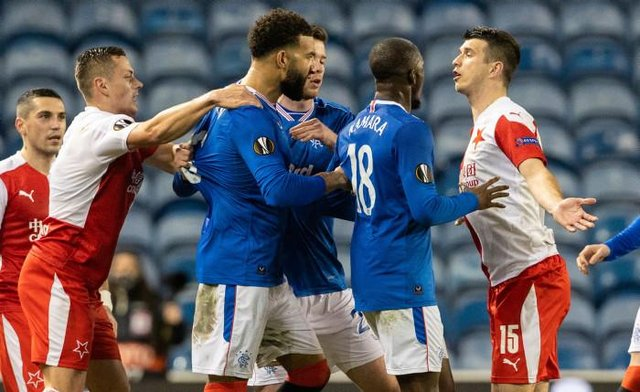 Ondrej Kudela (right) is confronted by Glen Kamara and Connor Goldson at Ibrox on March 18. The Slavia Prague defender has now been banned for 10 games by UEFA for racist abuse of Rangers midfielder Kamara. (Photo by Alan Harvey / SNS Group)