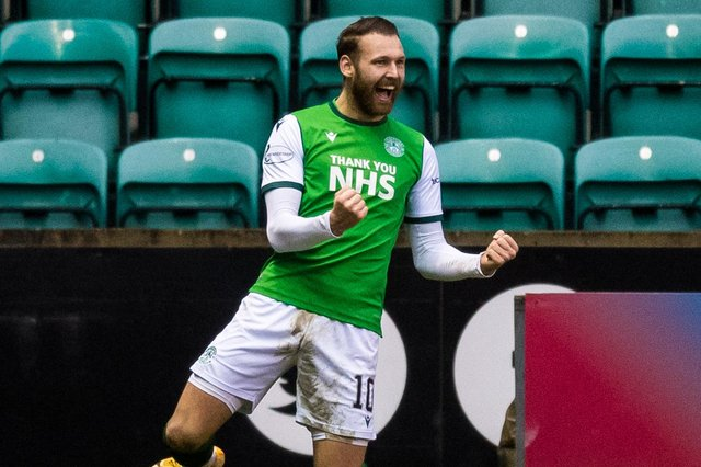 Martin Boyle celebrates his second goal in Hibs' 2-0 win over Aberdeen on Saturday (Photo by Ross Parker / SNS Group)