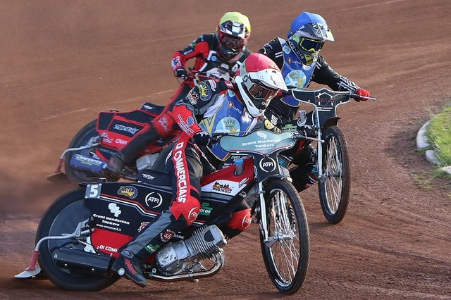 Edinburgh Monarchs' Richie Worrall and William Lawson lead the opposition at Armadale Stadium   Photo by Jack Cupido