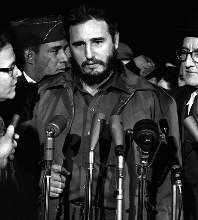 Fidel Castro arrives in Washington, 1959. The Cuban Revolution inspired revolutionary movements across Latin America, and challenged the control of Cuban affairs exercised from Washington.  The Eisenhower White House announced an economic blockade of the island, designed to bring Cuba to its knees and half a million Cubans escaped to Miami.
