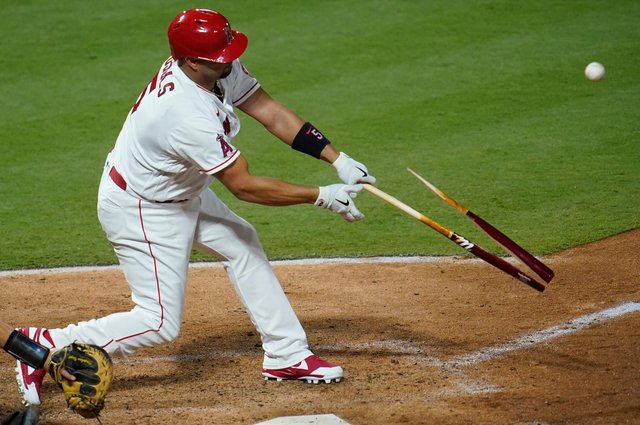 Albert Pujols of the Los Angeles Angels is a formidable slugger and broke his bat on this occasion. Picture: John McCoy/Getty Images