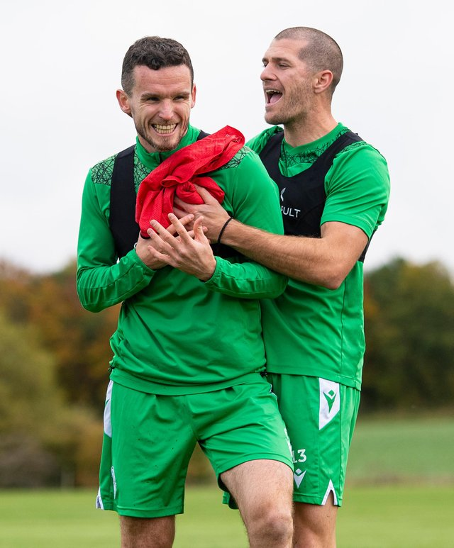 Paul McGinn and Alex Gogic have been key to Hibs' defensive resolve. Photo by Ross MacDonald / SNS Group