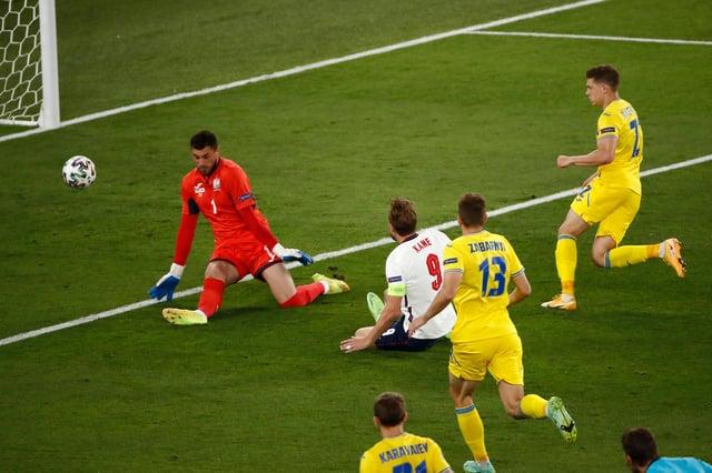 Harry Kane opens the scoring for England against Ukraine.