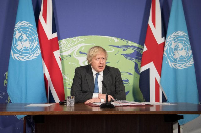 Prime Minister Boris Johnson chairs a session of the UN Security Council on climate and security at the Foreign, Commonwealth and Development Office in February (Getty Images)