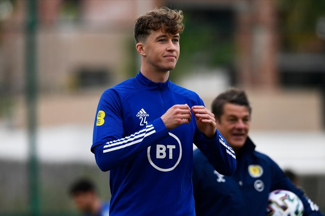 Celtic defender Jack Hendry during a Scotland training session at La Finca Resort in Alicante, Spain (Photo by Jose Breton / SNS Group)