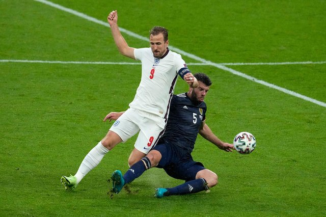 Scotland's Grant Hanley put the shackles on England's Harry Kane at Wembley.