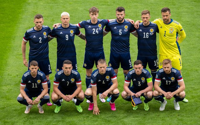 The Scotland team lines up ahead of the match