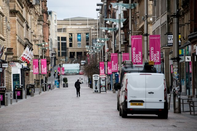 An almost empty Buchanan Street in the centre of Glasgow as people observe the spring 2020 lockdown. Non-essential stores have been forced to close for months now under tighter restrictions, hammering trade. Picture: John Devlin
