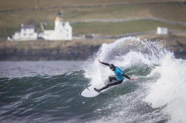 Wales' Harry Cromwell in the Open Main Grand Event final during day two of the British Surfing Championships at Thurso East, Caithness.(Pic: Jane Barlow/PA Wire)