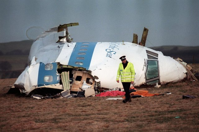 The remains of Pan Am Flight 103, photographed on 22 December 1988, in Lockerbie. PIC: Roy Leykey / AFP / Getty Images