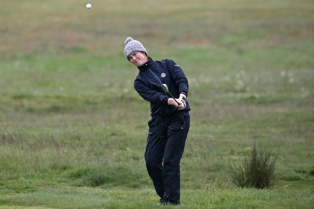 Ireland's Aine Donegan on her way to a first-round win in the R&A Womens Amateur Championship at Kilmarnock (Barassie) Golf Club. Picture: Charles McQuillan/R&A/R&A via Getty Images.