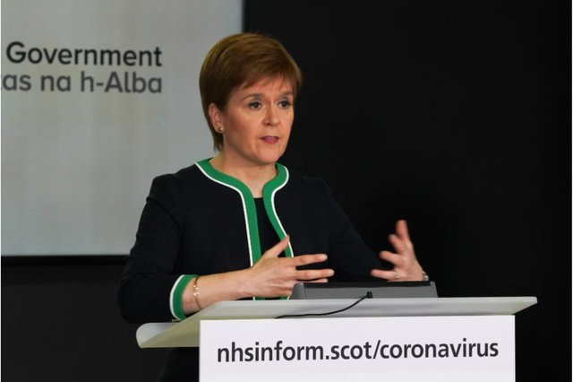 The First Minister gave her daily press conference from St Andrew's house this afternoon