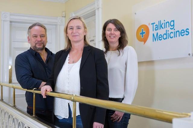 Dr Scott Crae, Jo Halliday and Dr Elizabeth Fairley of Glasgow-based healthtech business Talking Medicines. Picture: Marc Turner