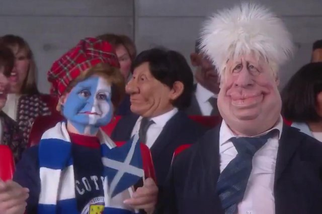Nicola Sturgeon as depicted on the new Spitting Image, along with Boris Johnson.