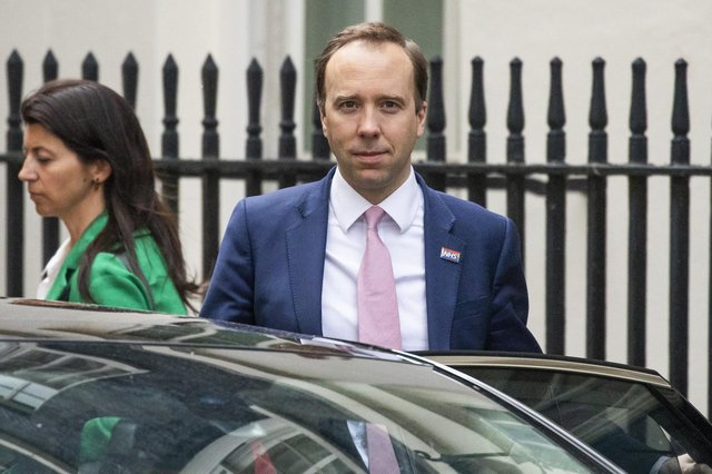 UK Health Secretary Matt Hancock leaves 10 Downing Street with aide Gina Coladangelo. Picture: Dan Kitwood/Getty Images
