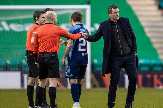 Hibs manager Jack Ross with referee Craig Napier and his officials during after the recent league match against Hamilton at Easter Road. Photo by: Craig Williamson/SNS Group