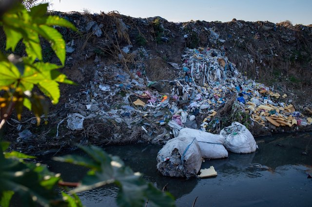 Rubbish, including plastic packaging from British supermarkets, was found in a ditch in the Turkish province of Adana, one of at least 10 known sites in southern Turkey where European plastics have been dumped illegally. (Picture: Yasin Akgul/AFP via Getty Images)