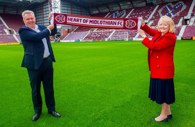 Hearts owner Ann Budge with chief executive Andrew McKinlay.