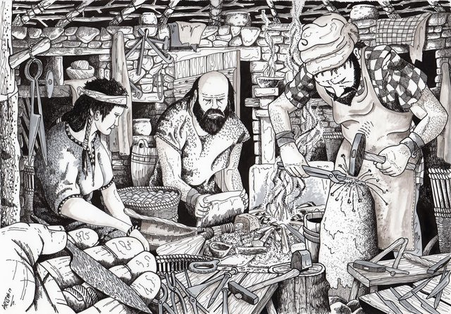 An illustration of metal working at the 1st Century smithy at the Swandro site. PIC: Swandro-Orkney Coastal Archaeology Trust.