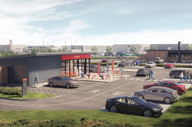 A CGI of how the new Bayne's drive-thru outlet should look when it opens later this year at Hillington Park, near Glasgow.