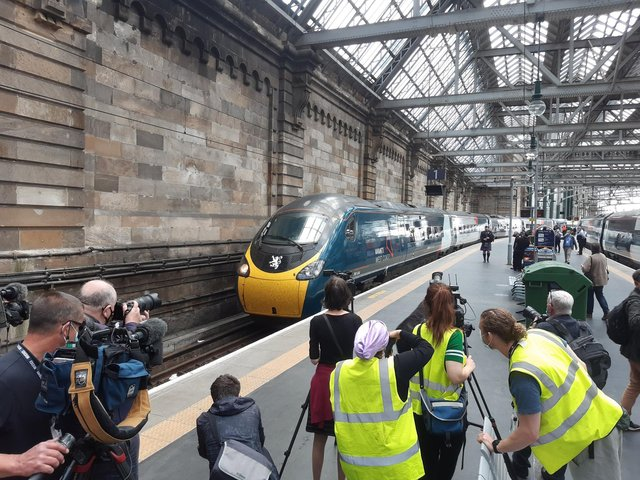 The Avanti West Coast train arrived at Glasgow Central just 21 seconds outside the record. Picture: The Scotsman