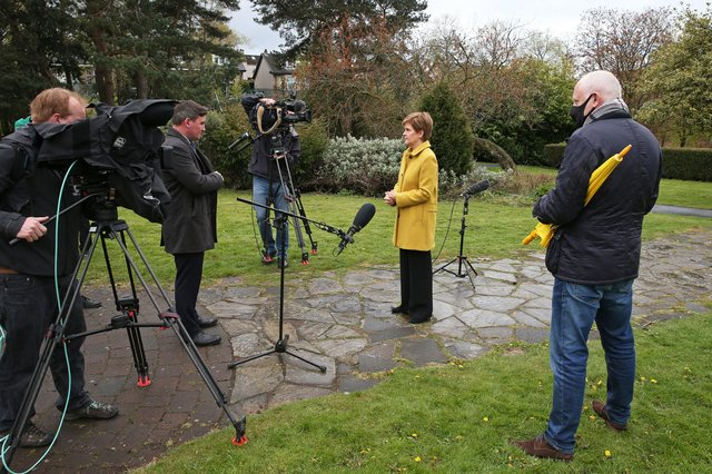 First Minister Nicola Sturgeon speaks to the media during a visit to Airdrie the day after her party won a fourth consecutive election.