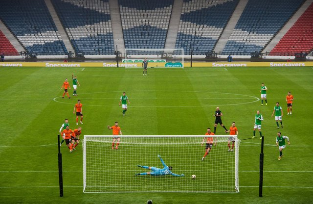 Both semi-finals, including Hibs' victory over Dundee United, were played in front of an empty Hampden Park. Picture: SNS