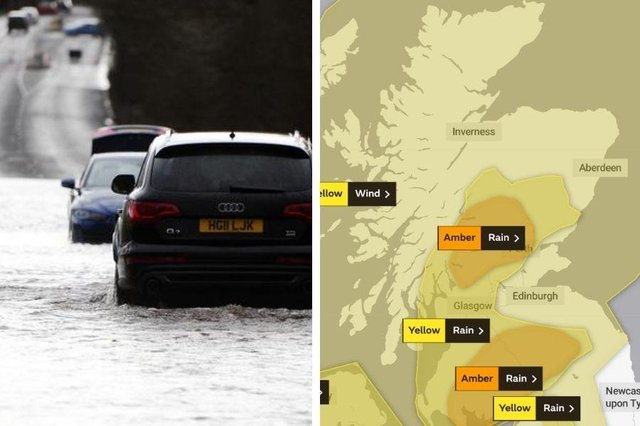 Heavy rain and high winds forecast for the next 24 hours in Scotland with amber and yellow weather warnings in place.