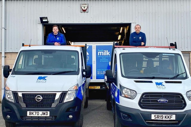 Kelvin Kerr Jnr, director, and Paul Johnstone, depot manager, at Dundee-headquartered Kerr's Family Dairy.