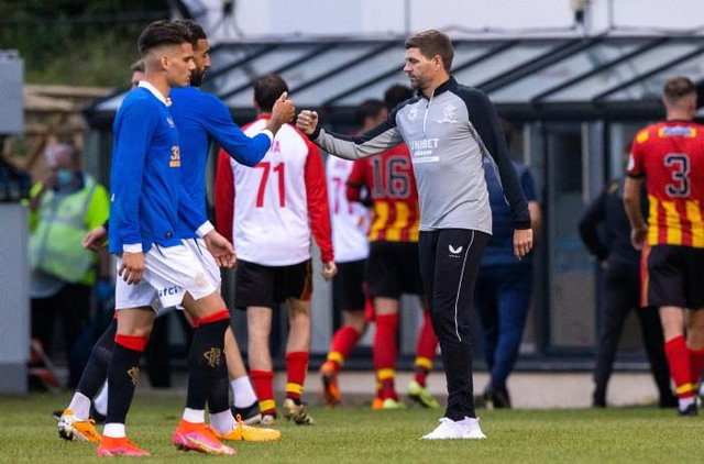 Rangers Manager Steven Gerrard with Connor Goldson at full time during a pre-season friendly between Partick Thistle and Rangers at Firhill, on July 05, 2021, in Glasgow, Scotland. (Photo by Craig Williamson / SNS Group)