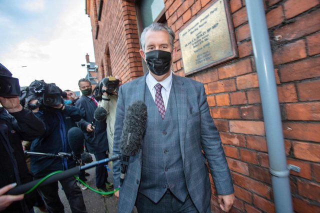 Edwin Poots, former leader of the Democratic Unionist Party (DUP), leaves the party headquarters in Belfast on Thursday (Getty Images)