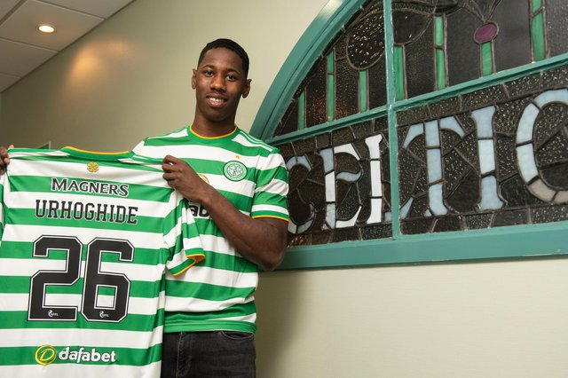 New Celtic signing Osaze Urhoghide is unveiled at Celtic Park. Picture: SNS