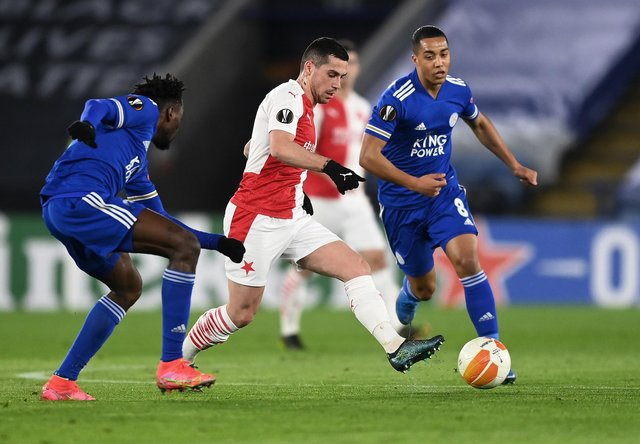 Slavia Prague winger Nicolae Stanciu, a Romanian international team-mate of Rangers' Ianis Hagi, in action during the Czech champions' Europa League win at Leicester City. (Photo by Michael Regan/Getty Images)