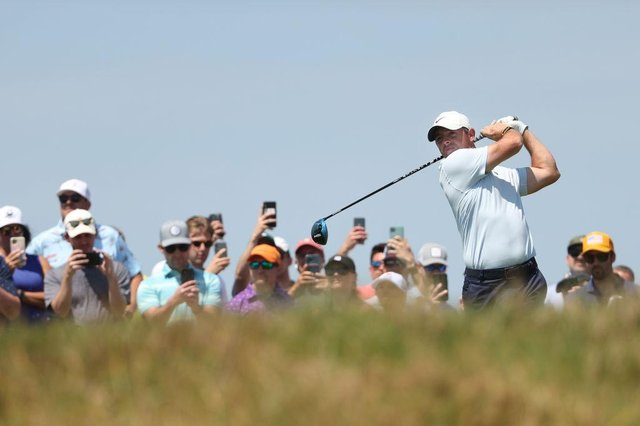 Rory McIlroy is the centre of attention with fans during a practice round prior to the 2021 PGA Championship at Kiawah Island Resort's Ocean Course in South Carolina. Picture: Patrick Smith/Getty Images