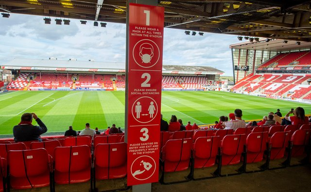 A limited number of fans were permitted to attend Aberdeen's home match with Kilmarnock in September